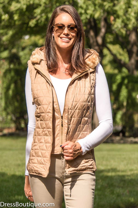 Beige Sleeveless Hooded Jacket/Vest