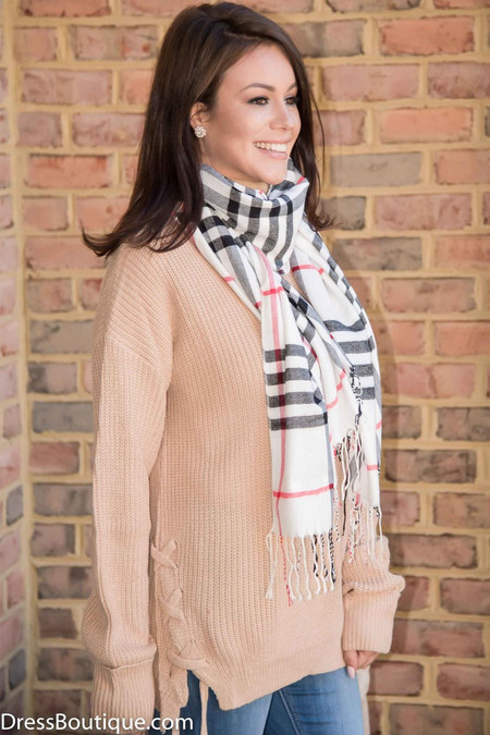 Cashmere Blend White Plaid Scarf