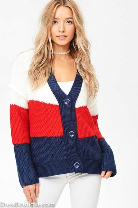 Color Block V-Neck Knit Cardigan