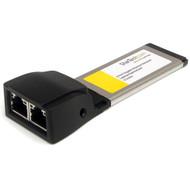 StarTech.com Dual Port ExpressCard Gigabit Laptop Ethernet NIC Network Adapter Card EC2000S