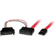 StarTech.com 0.5m Slimline SATA Female to SATA with SATA Power Cable Adapter SLSATAF50CMS