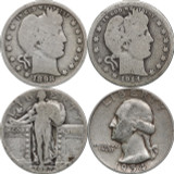 1892 - 1964 Silver Quarters, (2) Barber, (1) Standing Liberty & (1) Washington, $1 Face