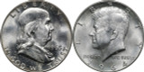 1963 Franklin & 1964 Kennedy Silver Half Dollar Set, BU Brilliant Uncirculated