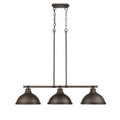 Golden Lighting 3602-3LP RBZ-RBZ Duncan 3 Light Linear Pendant in Rubbed Bronze with Rubbed Bronze Shade