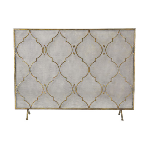 """Sterling 351-10247 Agra Antique Gold 34"""" Metal Fire Screen"""