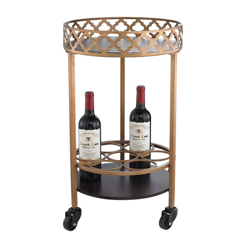 Sterling 51-015 Circular Quatrefoil Bar Cart