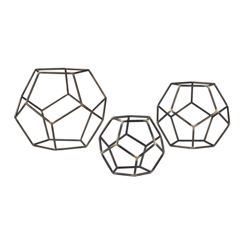 Sterling 138-165/S3 Geometric Orbs (Set of 3)