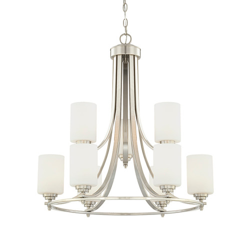 Millennium Lighting 7259-SN Bristo Etched White Chandelier in Satin Nickel