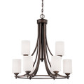 Millennium Lighting 7259-RBZ Bristo Etched White Chandelier in Satin Nickel