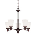 Millennium Lighting 2155-RBZ Cimmaron Etched White Chandelier in Rubbed Bronze