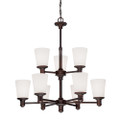 Millennium Lighting 2159-RBZ Cimmaron Etched White Chandelier in Rubbed Bronze
