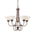 Millennium Lighting 1365-RBZ Fulton Etched White Chandelier in Rubbed Bronze