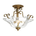 Millennium Lighting 7433-VG Chatsworth Clear Semi Flushmount in Vintage Gold