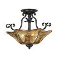 Millennium Lighting 7133-BG Chatsworth Umber Swirl Semi Flushmount in Burnished Gold