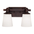Millennium Lighting 2162-RBZ Cimmaron Etched White Vanity Light in Rubbed Bronze