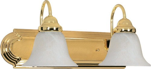 """NUVO Lighting 60/328 Ballerina 2 Light 18"""" Vanity with Alabaster Glass Bell Shades"""
