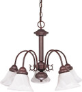 "NUVO Lighting 60/183 Ballerina 5 Light 24"" Chandelier with Alabaster Glass Bell Shades"