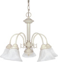 "NUVO Lighting 60/187 Ballerina 5 Light 24"" Chandelier with Alabaster Glass Bell Shades"