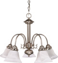 "NUVO Lighting 60/181 Ballerina 5 Light 24"" Chandelier with Alabaster Glass Bell Shades"