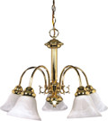 "NUVO Lighting 60/185 Ballerina 5 Light 24"" Chandelier with Alabaster Glass Bell Shades"