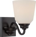 NUVO Lighting 62/376 Calvin 1 Light Vanity Fixture with Satin White Glass (LED Omni Bulb Included)