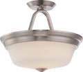 NUVO Lighting 62/364 Calvin 2 Light Semi Flushmount with Satin White Glass (LED Omni Bulbs Included)