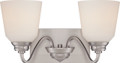 NUVO Lighting 62/367 Calvin 2 Light Vanity Fixture with Satin White Glass (LED Omni Bulbs Included)
