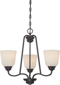 NUVO Lighting 62/379 Calvin 3 Light Chandelier with Satin White Glass (LED Omni Bulbs Included)