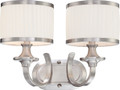 NUVO Lighting 60/4732 Candice 2 Light Vanity Fixture with Pleated White Shades