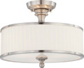 NUVO Lighting 60/4737 Candice 3 Light Semi Flushmount Fixture with Pleated White Shade