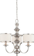 NUVO Lighting 60/4734 Candice 3 Light Chandelier with Pleated White Shades