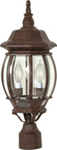 "NUVO Lighting 60/898 Central Park 3 Light 21"" Post Lantern with Clear Beveled Glass"