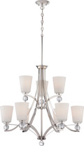 NUVO Lighting 60/5499 Connie 9 Light 2 Tier Chandelier with Satin White Glass