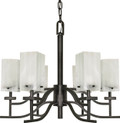 """NUVO Lighting 60/000 Cubica 6 Light 26"""" Chandelier with Alabaster Glass"""