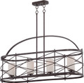 NUVO Lighting 60/5338 Ginger 4 Light Island Pendant with Etched Opal Glass