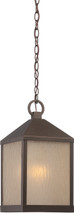 NUVO Lighting 62/665 Haven LED Outdoor Hanging with Sanded Tea Stain Glass
