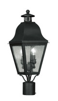 LIVEX Lighting 2552-04 Amwell Outdoor Post Lantern in Black (2 Light)