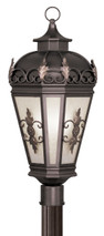 LIVEX Lighting 2197-07 Berkshire Outdoor Post Lantern in Bronze (3 Light)
