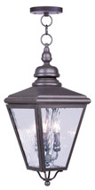 LIVEX Lighting 2035-07 Cambridge Outdoor Chain Lantern in Bronze (3 Light)