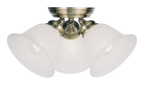 LIVEX Lighting 1358-01 Essex Flushmount In Antique Brass