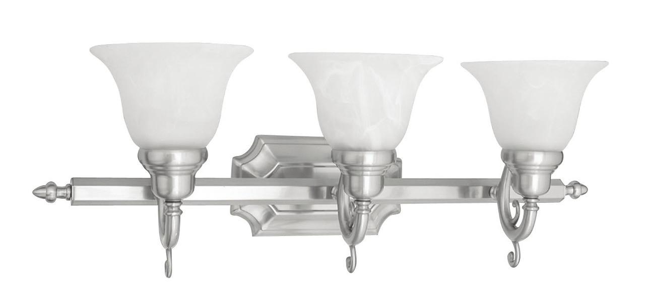 Livex Oldwick Modern Brushed Nickel 3 Light Bathroom: LIVEX Lighting 1283-91 French Regency Bath Light In