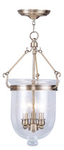 LIVEX Lighting 5083-01 Jefferson Chain Lantern in Antique Brass (3 Light)