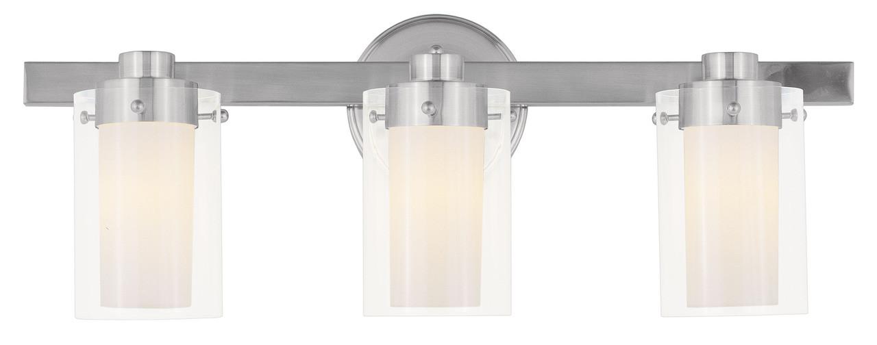 Livex Oldwick Modern Brushed Nickel 3 Light Bathroom: LIVEX Lighting 1543-91 Manhattan Contemporary Bath Light