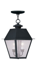 LIVEX Lighting 2167-04 Mansfield Outdoor Chain Lantern in Black (2 Light)