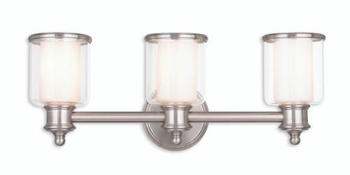Livex Oldwick Modern Brushed Nickel 3 Light Bathroom: LIVEX Lighting 40213-91 Middlebush Bath Vanity In Brushed