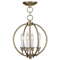 LIVEX Lighting 4664-01 Milania Convertible Chain Lantern/Flushmount in Antique Brass (4 Light)