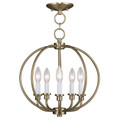 LIVEX Lighting 4665-01 Milania Convertible Chain Lantern/Flushmount in Antique Brass (5 Light)