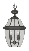 LIVEX Lighting 2255-04 Monterey Outdoor Chain Lantern in Black (2 Light)