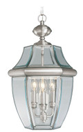 LIVEX Lighting 2355-91 Monterey Outdoor Chain Lantern in Brushed Nickel (3 Light)