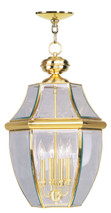 LIVEX Lighting 2357-02 Monterey Outdoor Chain Lantern in Polished Brass (4 Light)